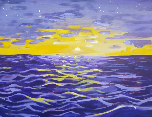 purple ocean sunset painting