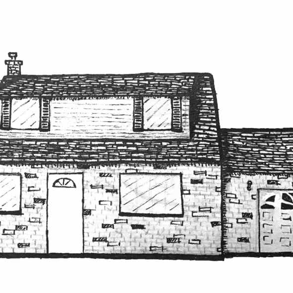 Detailed drawing of house for pocket