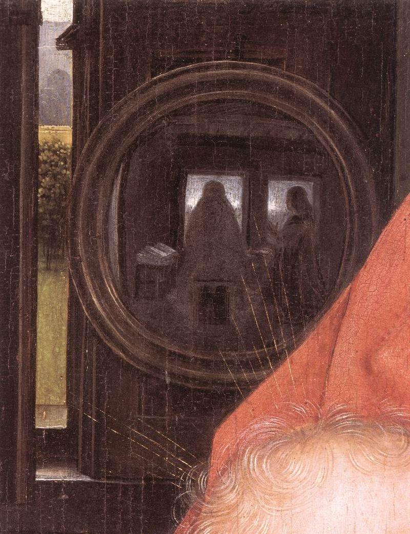 Diptych of Maarten van Nieuwenhove close up on mirror
