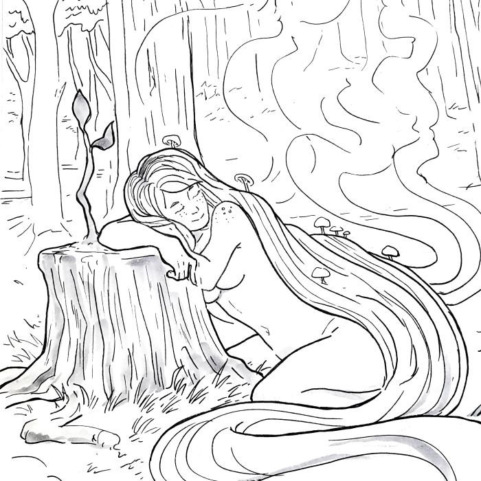 drawing of spirit of the forest